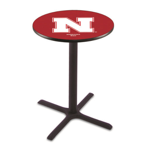 "42"" Black Wrinkle Nebraska Pub Table with 36"" Dia Top by HBS ; UPC: 071235026998"