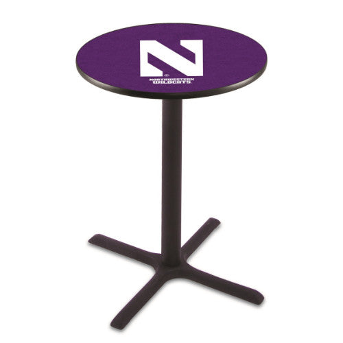 "36"" Black Wrinkle Northwestern Pub Table with 36"" Dia Top by HBS ; UPC: 071235025298"