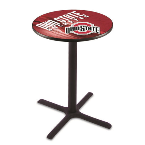 "36"" Black Wrinkle Ohio State Pub Table (Design 2) with 36"" Dia Top; UPC: 071235847241"