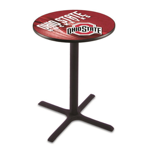 "36"" Black Wrinkle Ohio State Pub Table with 28"" Dia Top by HBS ; UPC: 071235834074"