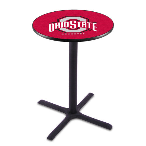 "42"" Black Wrinkle Ohio State Pub Table with 36"" Dia Top by HBS ; UPC: 071235027124"