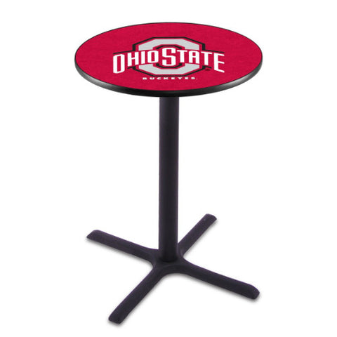 "36"" Black Wrinkle Ohio State Pub Table with 36"" Dia Top by HBS ; UPC: 071235025328"
