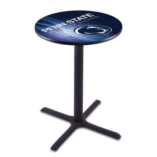 "36"" Black Wrinkle Penn State Pub Table (Design 2) with 36"" Dia Top; UPC: 071235847296"