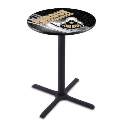 "36"" Black Wrinkle Purdue Pub Table with 28"" Dia Top by HBS ; UPC: 071235834852"
