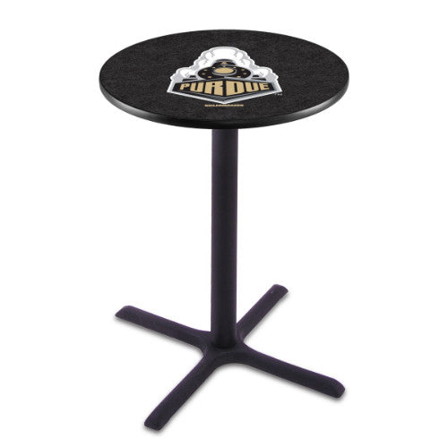 "36"" Black Wrinkle Purdue Pub Table with 36"" Dia Top by HBS ; UPC: 071235025434"