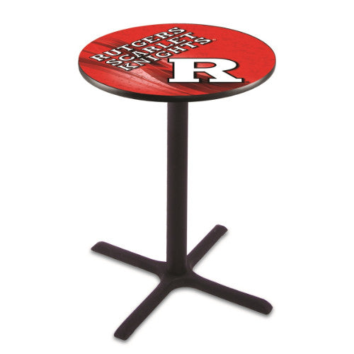 "42"" Black Wrinkle Rutgers Pub Table with 28"" Dia Top by HBS ; UPC: 071235834999"