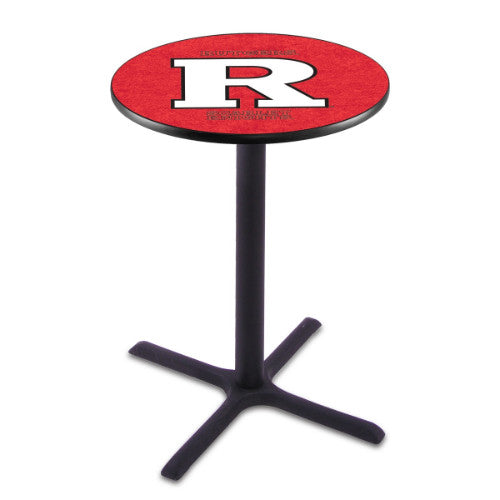 "42"" Black Wrinkle Rutgers Pub Table with 36"" Dia Top by HBS ; UPC: 071235027247"