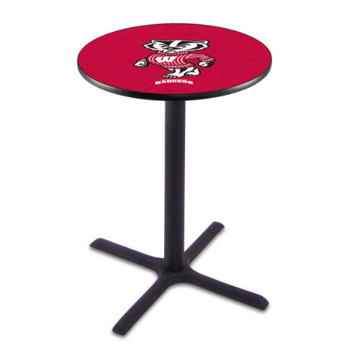 "36"" Black Wrinkle Wisconsin ""Badger"" Pub Table by Holland Bar Stool ; UPC: 071235021962"