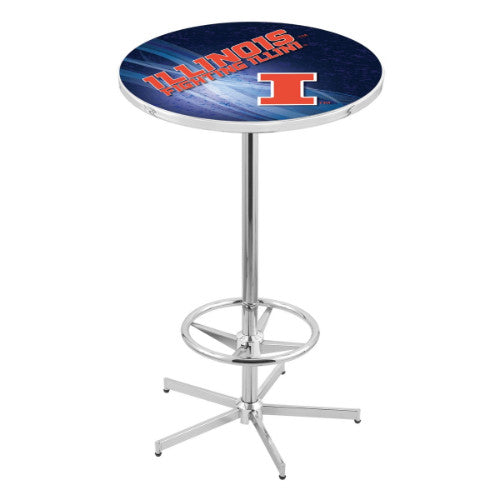 "42"" Chrome Illinois Pub Table (Design 2) with 36"" Dia Top by HBS ; UPC: 071235860240"