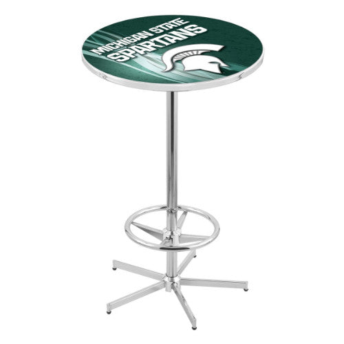 "42"" Chrome Michigan State Pub Table with 28"" Dia Top by HBS ; UPC: 071235830649"