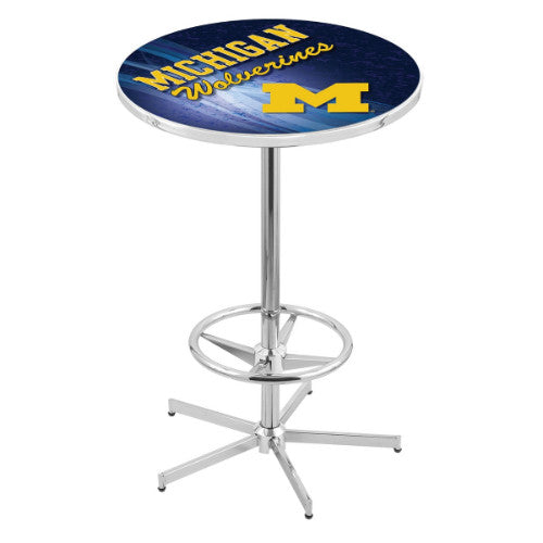 "42"" Chrome Michigan Pub Table (Design 2) with 36"" Dia Top by HBS ; UPC: 071235860448"
