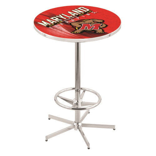 "42"" Chrome Maryland Pub Table (Design 2) with 36"" Dia Top by HBS ; UPC: 071235860547"