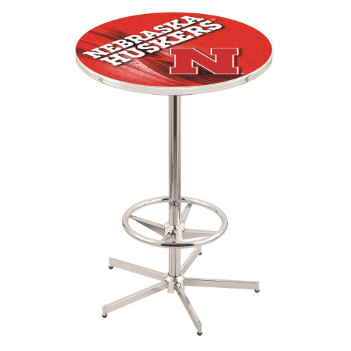 "42"" Chrome Nebraska Pub Table (Design 2) with 36"" Dia Top by HBS ; UPC: 071235860639"
