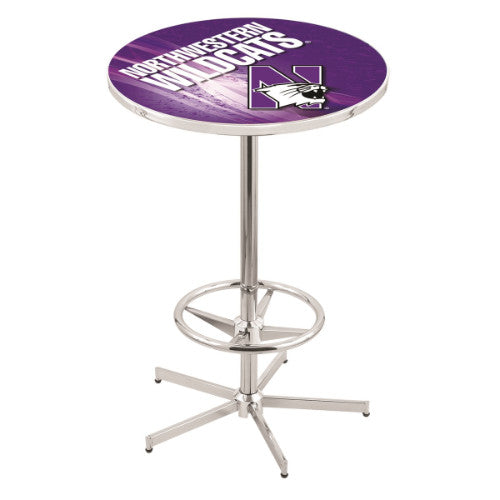 "42"" Chrome Northwestern Pub Table (Design 2) with 36"" Dia Top by HBS ; UPC: 071235860738"
