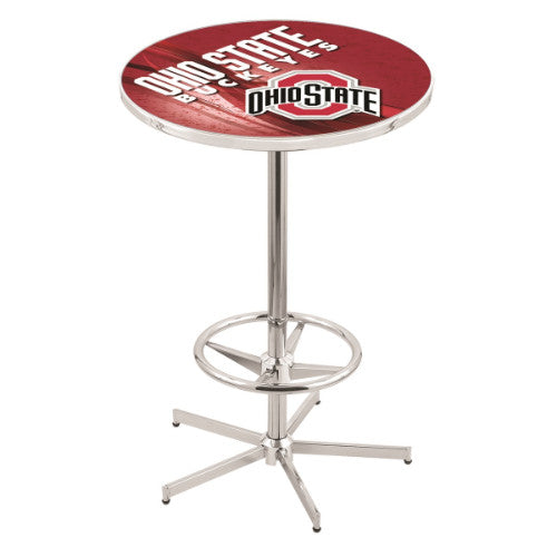 "42"" Chrome Ohio State Pub Table (Design 2) with 36"" Dia Top by HBS ; UPC: 071235860769"