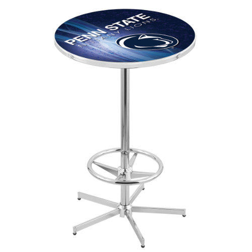 "42"" Chrome Penn State Pub Table (Design 2) with 36"" Dia Top by HBS ; UPC: 071235860813"