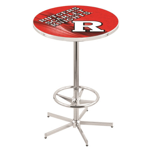 "42"" Chrome Rutgers Pub Table (Design 2) with 36"" Dia Top by HBS ; UPC: 071235860875"