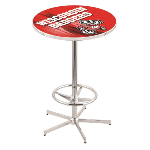 "42"" Chrome Wisconsin ""Badger"" Pub Table with 28"" Dia Top by HBS ; UPC: 071235839741"