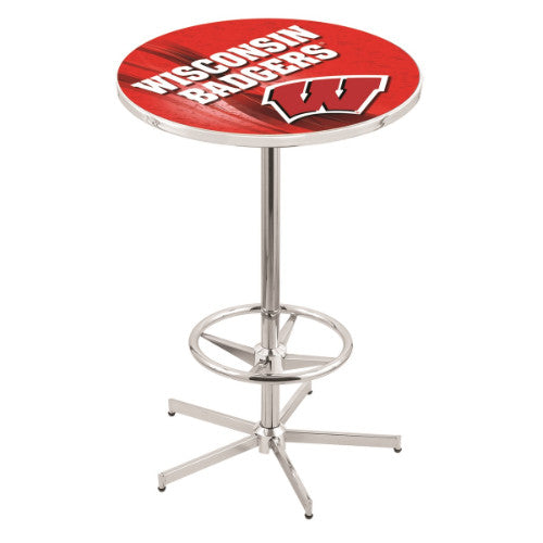 "42"" Chrome Wisconsin ""W"" Pub Table (Design 2) with 36"" Dia Top; UPC: 071235861315"