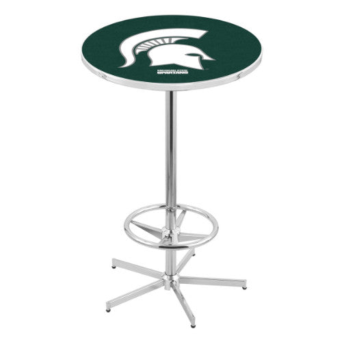 "42"" Chrome Michigan State Pub Table by Holland Bar Stool ; UPC: 071235040277"