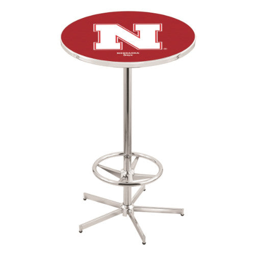 "42"" Chrome Nebraska Pub Table with 36"" Dia Top by Holland Bar Stool ; UPC: 071235816537"