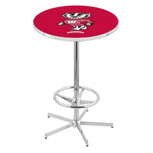 "42"" Chrome Wisconsin ""Badger"" Pub Table with 36"" Dia Top by HBS ; UPC: 071235817190"