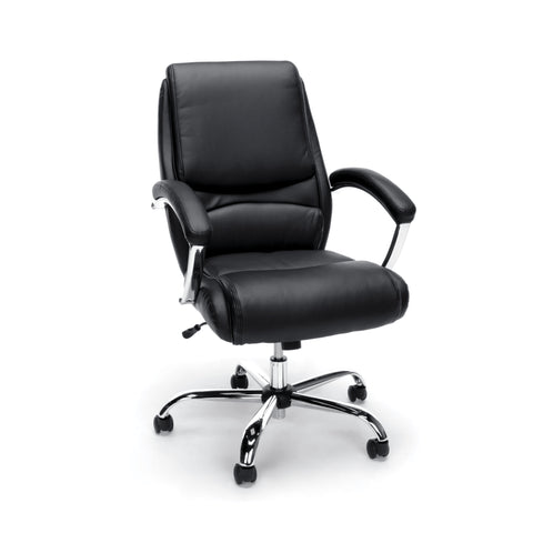 Essentials by OFM ESS-6070 Ergonomic High-Back Bonded Leather Executive Chair, Black with Chrome Finish ; UPC: 089191014010 ; Image 1