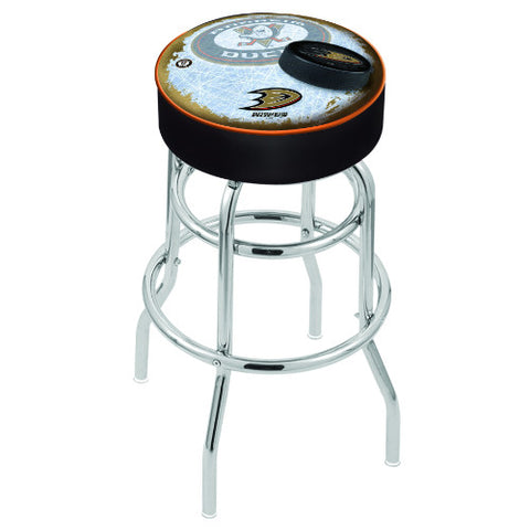 "25"" Anaheim Ducks Cushion Seat with Double-Ring Chrome Base (Design 2) Swivel Bar Stool by Holland Bar Stool mpany ; UPC: 071235064013"