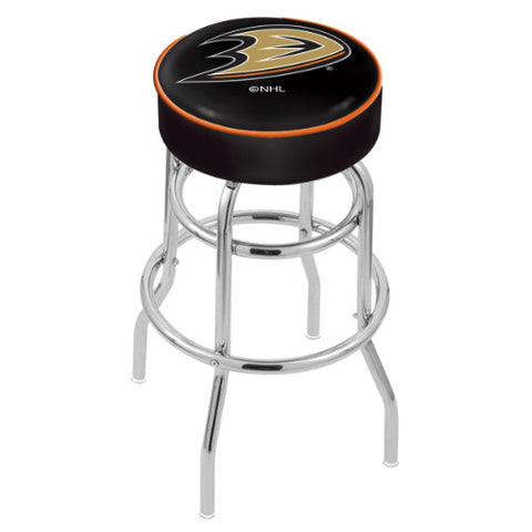 "30"" Anaheim Ducks Cushion Seat with Double-Ring Chrome Base Swivel Bar Stool by Holland Bar Stool mpany ; UPC: 071235062415"