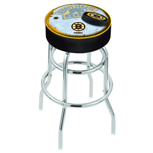 "30"" Boston Bruins Cushion Seat with Double-Ring Chrome Base (Design 2) Swivel Bar Stool by Holland Bar Stool mpany ; UPC: 071235065829"