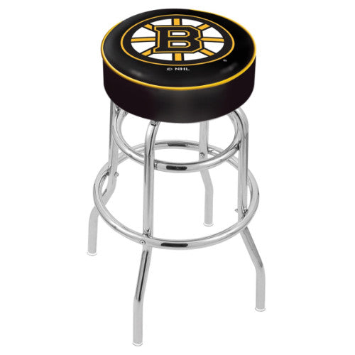 "30"" Boston Bruins Cushion Seat with Double-Ring Chrome Base Swivel Bar Stool by Holland Bar Stool mpany ; UPC: 071235062439"