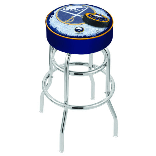 "30"" Buffalo Sabres Cushion Seat with Double-Ring Chrome Base (Design 2) Swivel Bar Stool by Holland Bar Stool mpany ; UPC: 071235065850"