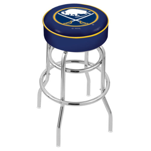"30"" Buffalo Sabres Cushion Seat with Double-Ring Chrome Base Swivel Bar Stool by Holland Bar Stool mpany ; UPC: 071235062453"