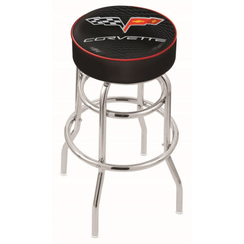 "25"" Corvette C6 Black Cushion Seat with Double-Ring Chrome Base Swivel Bar Stool with red accent by Holland Bar Stool Co.; UPC: 071235063122"