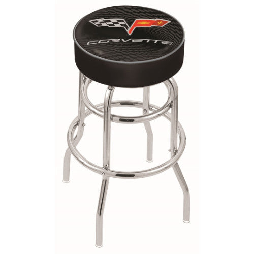 "30"" Corvette C6 Black Cushion Seat with Double-Ring Chrome Base Swivel Bar Stool with silver accent by Holland Bar Stool Co.; UPC: 071235063177"