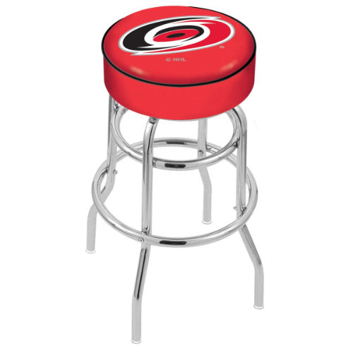 "25"" Carolina Hurricanes Cushion Seat with Double-Ring Chrome Base Swivel Bar Stool by Holland Bar Stool mpany ; UPC: 071235062484"
