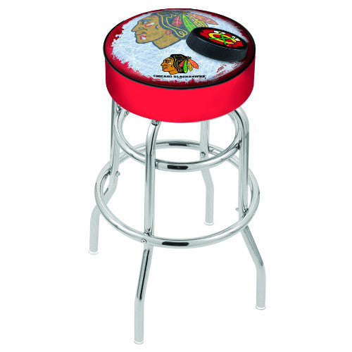 "30"" Chicago Blackhawks Cushion Seat with Double-Ring Chrome Base (Design 2) Swivel Bar Stool by Holland Bar Stool mpany ; UPC: 071235065928"