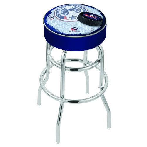 "25"" lumbus Blue Jackets Cushion Seat with Double-Ring Chrome Base (Design 2) Swivel Bar Stool by Holland Bar Stool mpany ; UPC: 071235064266"