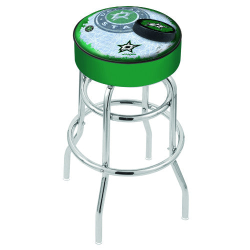 "30"" Dallas Stars Cushion Seat with Double-Ring Chrome Base (Design 2) Swivel Bar Stool by Holland Bar Stool mpany ; UPC: 071235066017"