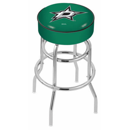 "25"" Dallas Stars Cushion Seat with Double-Ring Chrome Base Swivel Bar Stool by Holland Bar Stool mpany ; UPC: 071235062583"