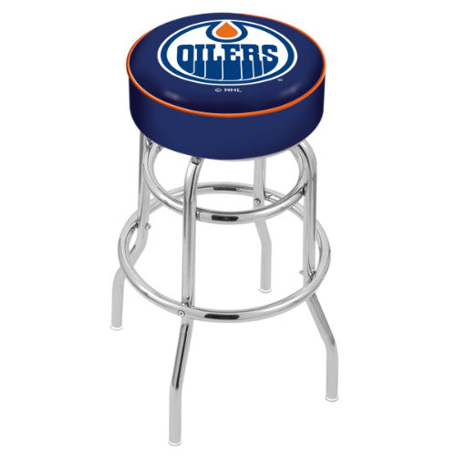 "25"" Edmonton Oilers Cushion Seat with Double-Ring Chrome Base Swivel Bar Stool by Holland Bar Stool mpany ; UPC: 071235062620"