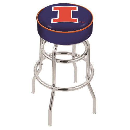 "30"" Illinois Cushion Seat with Double-Ring Chrome Base Swivel Bar Stool by Holland Bar Stool Company ; UPC: 071235061258"