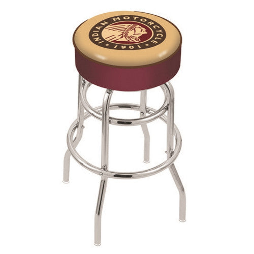 "25"" Indian Motorcycle Cushion Seat with Double-Ring Chrome Base Swivel Bar Stool by Holland Bar Stool Company ; UPC: 071235063627"