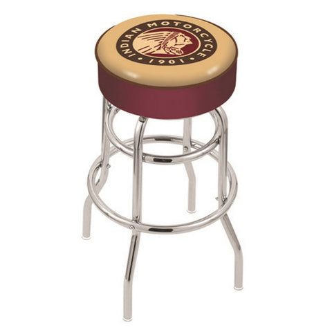 "30"" Indian Motorcycle Cushion Seat with Double-Ring Chrome Base Swivel Bar Stool by Holland Bar Stool Company ; UPC: 071235063658"