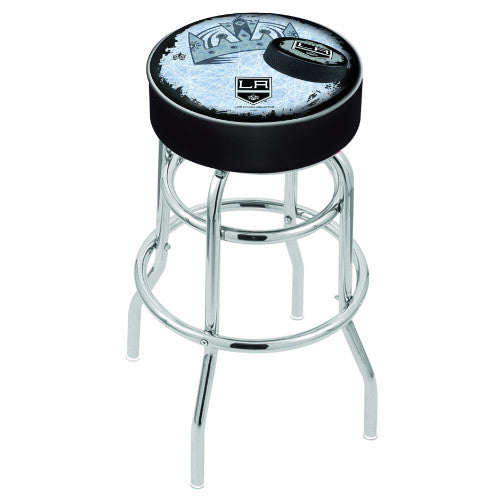 "25"" Los Angeles Kings Cushion Seat with Double-Ring Chrome Base (Design 2) Swivel Bar Stool by Holland Bar Stool mpany ; UPC: 071235064631"