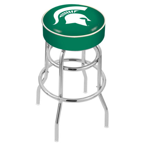 "30"" Michigan State Cushion Seat with Double-Ring Chrome Base Swivel Bar Stool by Holland Bar Stool Company ; UPC: 071235060534"
