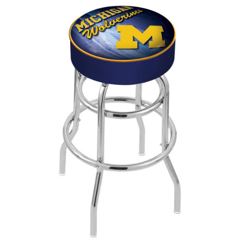 "25"" Michigan (Design 2) Cushion Seat with Double-Ring Chrome Base Swivel Bar Stool by Holland Bar Stool Company ; UPC: 071235064747"