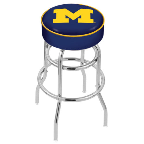 "25"" Michigan Cushion Seat with Double-Ring Chrome Base Swivel Bar Stool by Holland Bar Stool Company ; UPC: 071235061463"