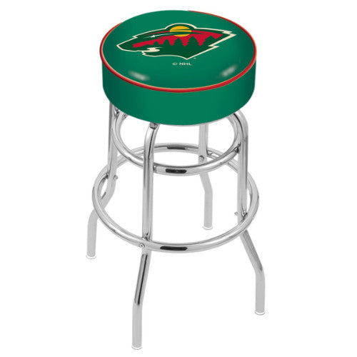 "30"" Minnesota Wild Cushion Seat with Double-Ring Chrome Base Swivel Bar Stool by Holland Bar Stool mpany ; UPC: 071235062699"