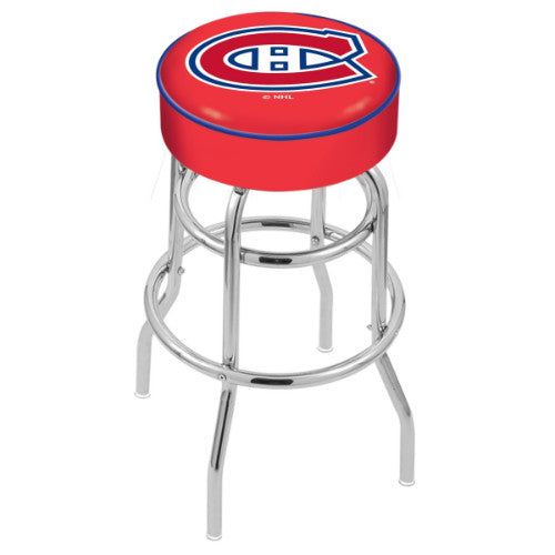 "25"" Montreal Canadiens Cushion Seat with Double-Ring Chrome Base Swivel Bar Stool by Holland Bar Stool mpany ; UPC: 071235062705"